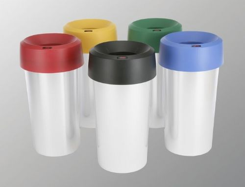 50 litre Plastic bin, metal look base with coloured tops